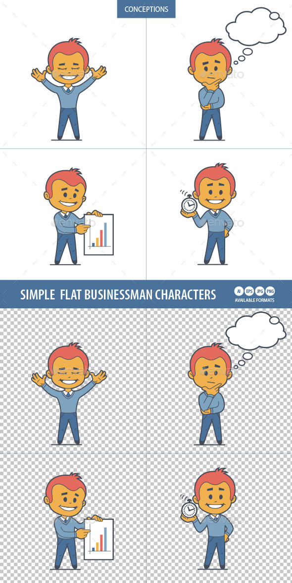 GraphicRiver Set of Flat Businessman Characters 10014441