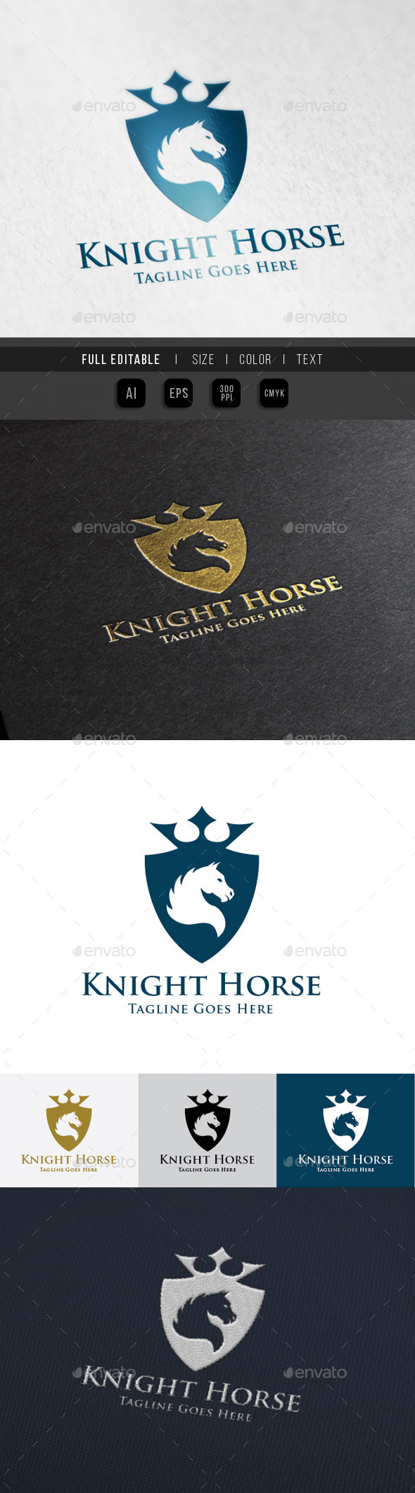 Horse Knight Shield Logo