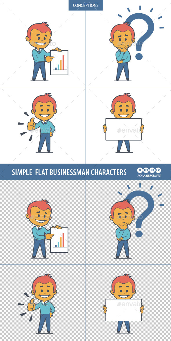 GraphicRiver Set of Four Businessman Characters 10014542