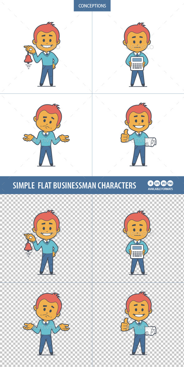 Set of Four Flat Businessman Characters