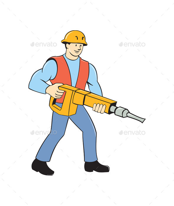 Construction Worker Holding Jackhammer Cartoon | GraphicRiver