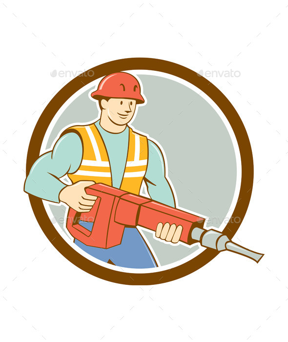 GraphicRiver Construction Worker Jackhammer Circle Cartoon 10014558