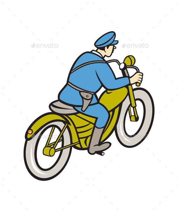 GraphicRiver Highway Patrol Policeman Riding Motorbike Cartoon 10014614