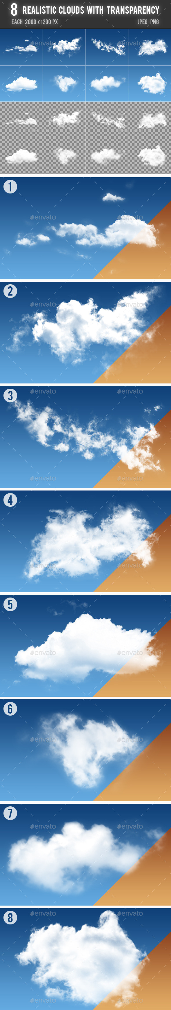 8 Realistic Clouds with Transparency