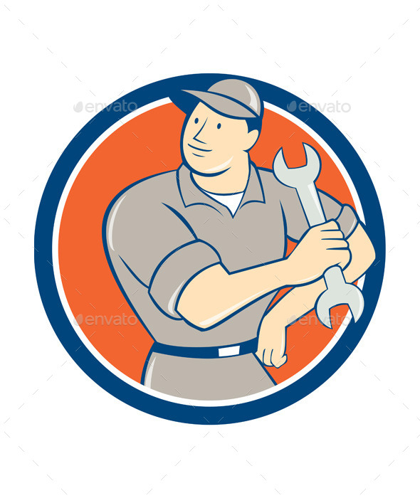 GraphicRiver Mechanic Holding Spanner Wrench Circle Cartoon 10014687
