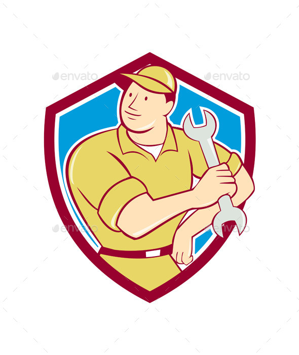 Mechanic Holding Spanner Wrench Shield Cartoon