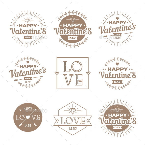 GraphicRiver Set of Valentines Day Vintage Labels 10014694
