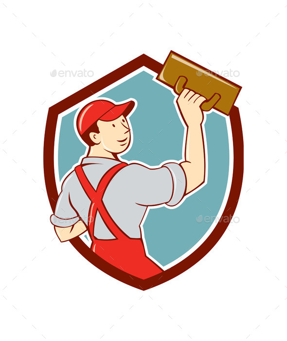 GraphicRiver Plasterer Masonry Trowel Shield Cartoon 10014946