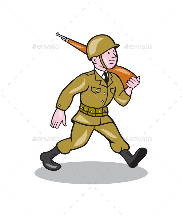 GraphicRiver World War Two Soldier American Cartoon Isolated 10014950