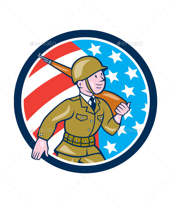 World War Two Soldier American Marching Cartoon