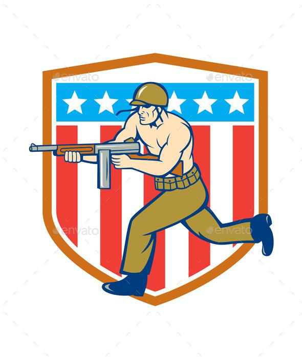 GraphicRiver World War Two Soldier American Tommy Gun Shield 10015003