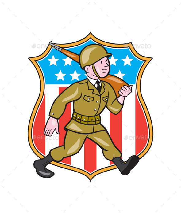 GraphicRiver World War Two Soldier American Cartoon Shield 10015027
