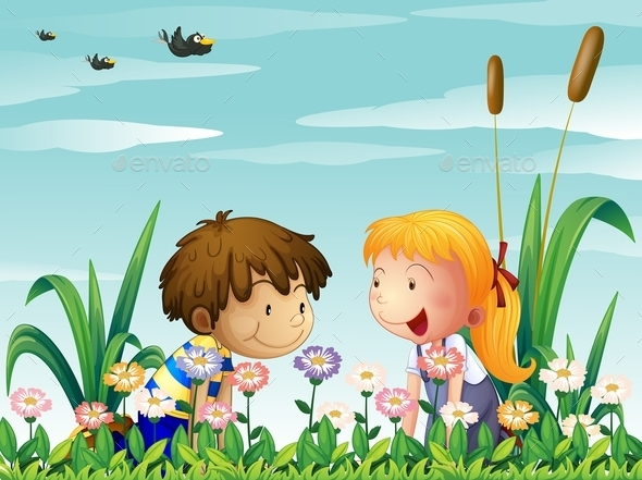GraphicRiver Girl and Boy Watching the Flowers 10015052