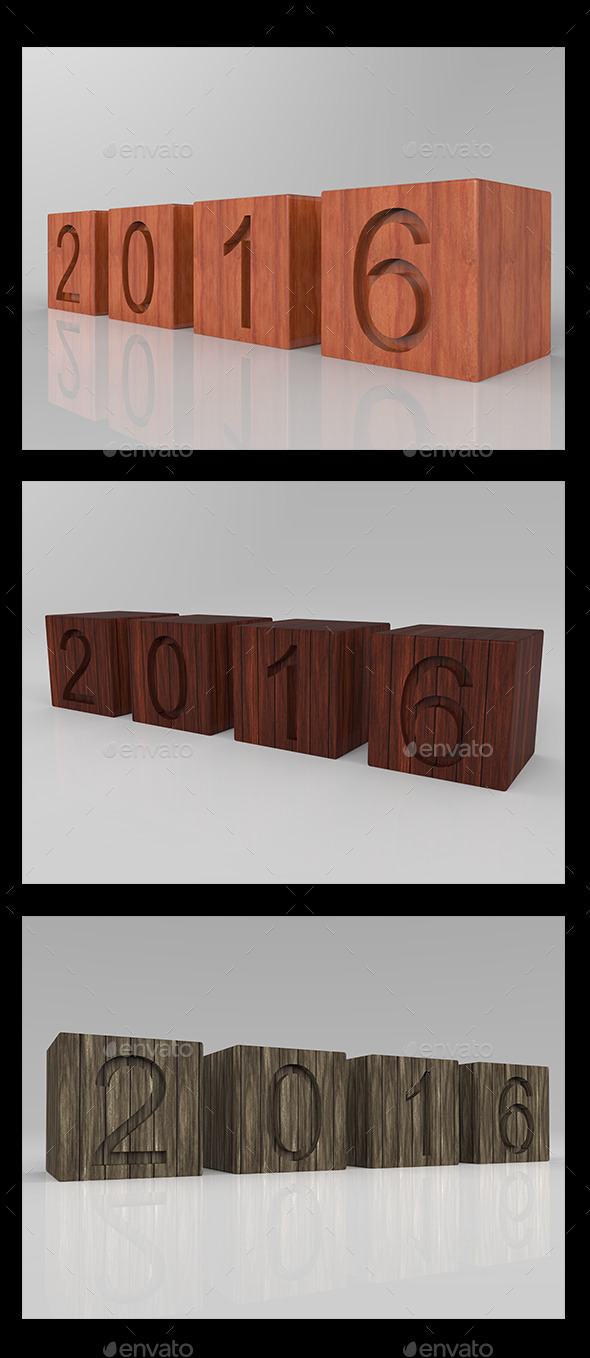 GraphicRiver New Year 2016 3D Wood 10015411