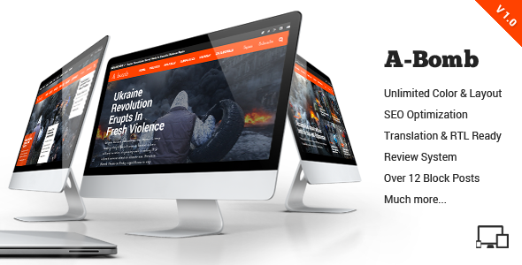 A-Bomb is the ultimate blog and newspaper wordpress theme that presents a whole new world of creating beautiful wordpress sites, the flexibility of this