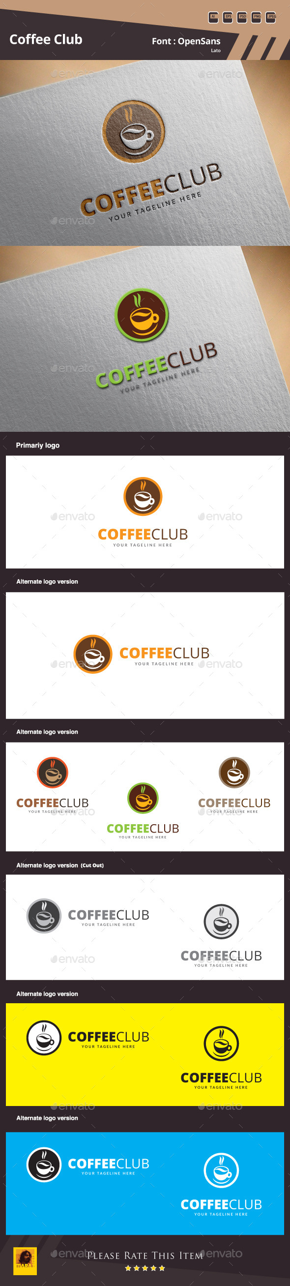 GraphicRiver Coffee Club Logo Template 10015525