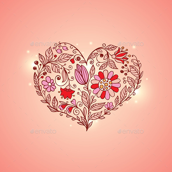GraphicRiver Hand Drawn Floral Heart 10015933