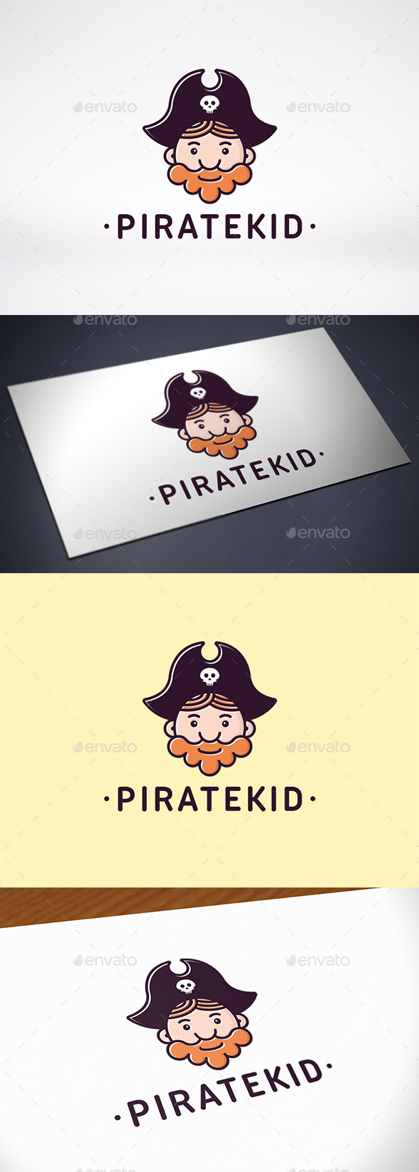 Pirate Kid Face Logo Template