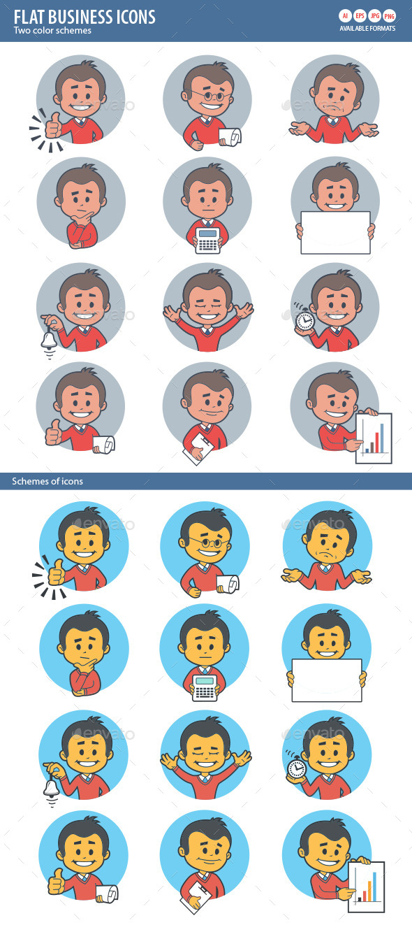 GraphicRiver Two Sets of Flat Icon with Characters Businessman 10017393