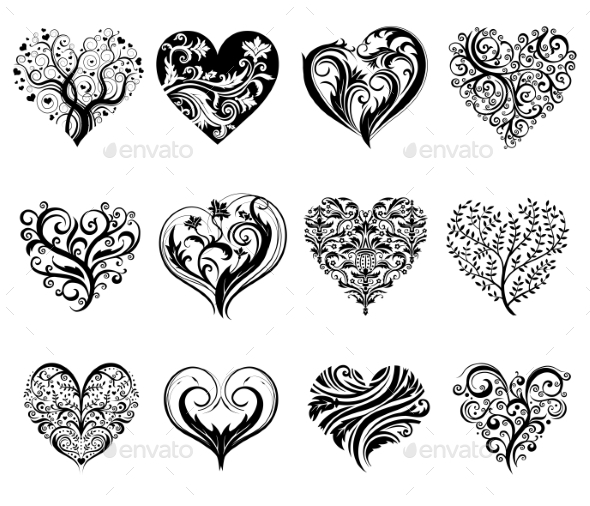 GraphicRiver Tattoo Hearts 10017456