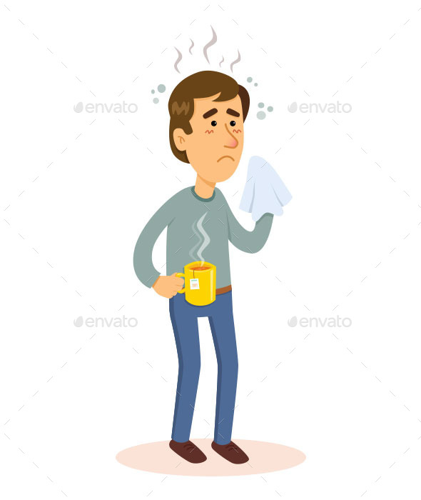 GraphicRiver Man Sick with Flu 10017463