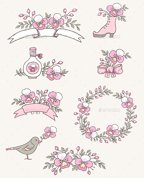 GraphicRiver Doodle Design Elements with Orchids 10017470