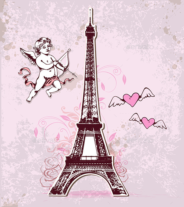 GraphicRiver Vintage Card with Eiffel Tower and Cupid 10017483