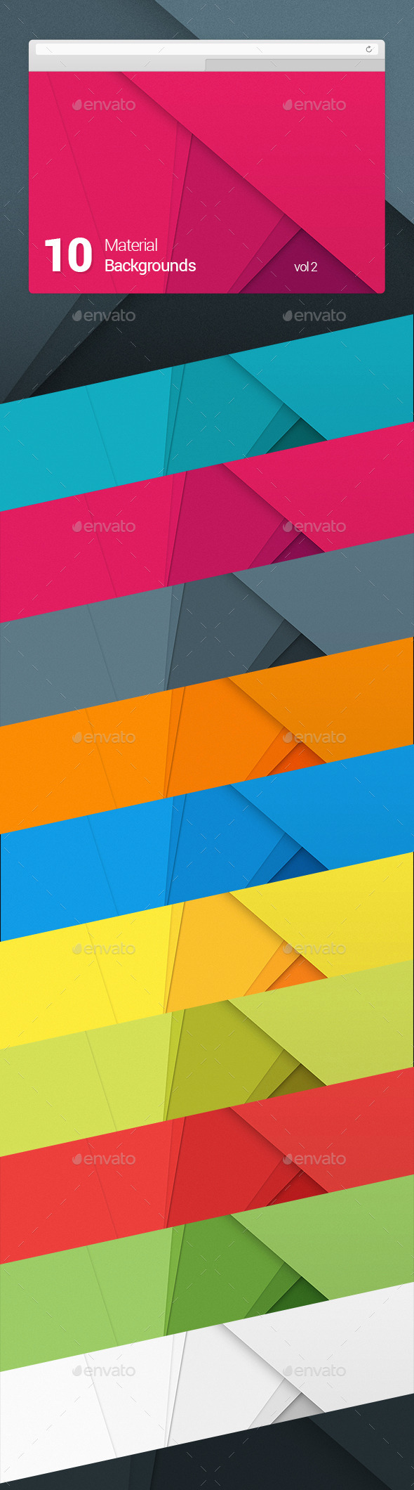 GraphicRiver 10 Material Design Backgrounds Vol 2 10017872