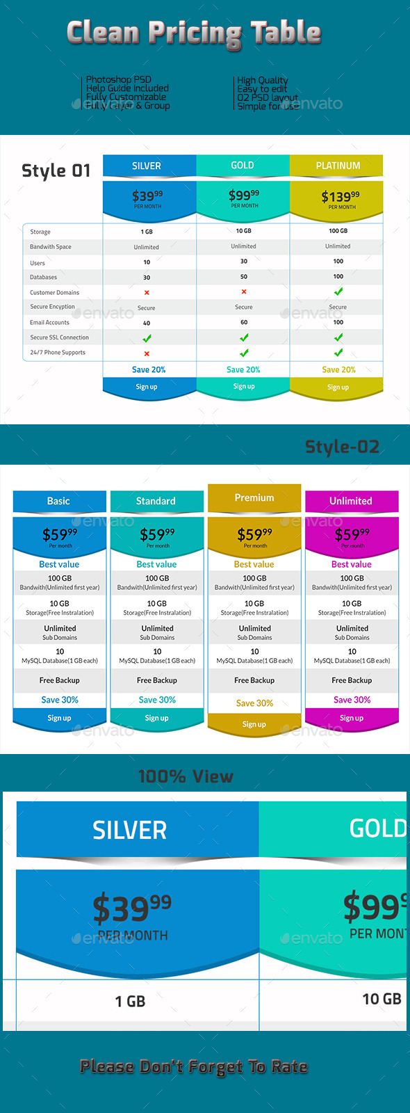 GraphicRiver Clean Pricing Tables 10017894