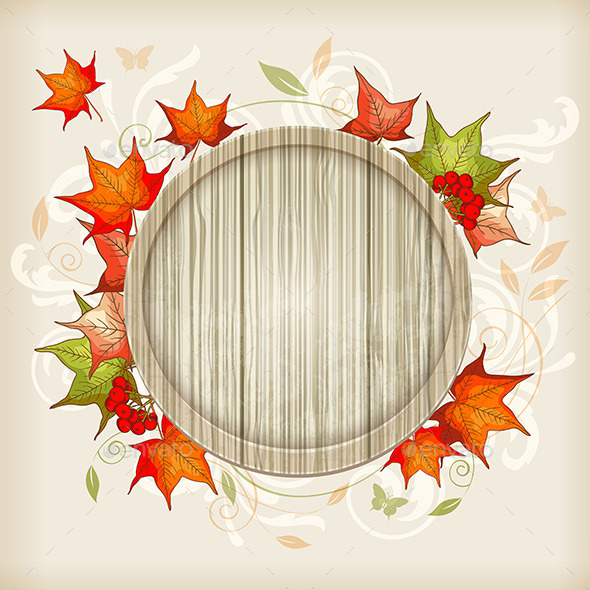 GraphicRiver Autumn Background with Maple Leaves 10017905