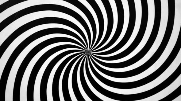 Black and White Spiral Spinning Right