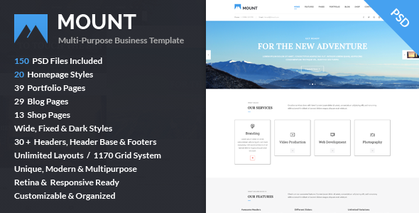 Mount – Multi-purpose Business PSD Template