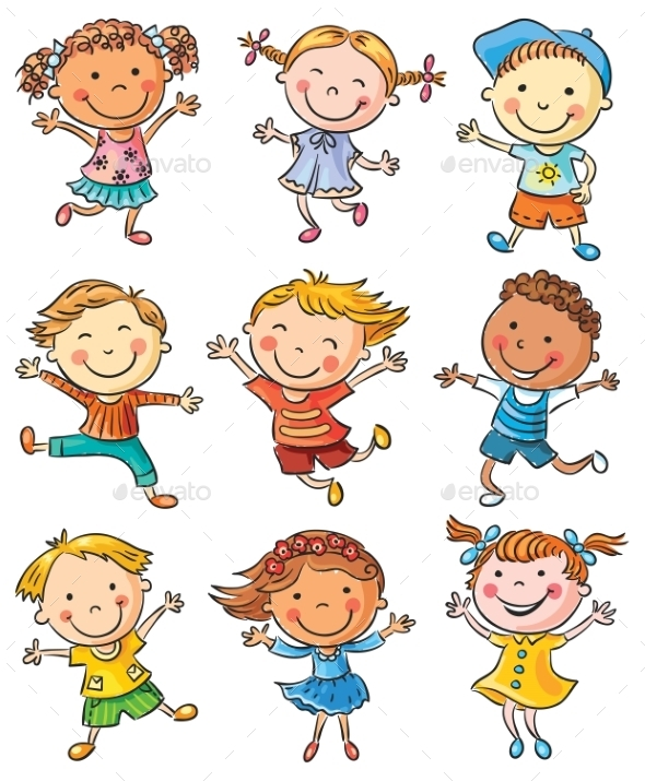 GraphicRiver Nine Happy Kids Dancing or Jumping 10018796