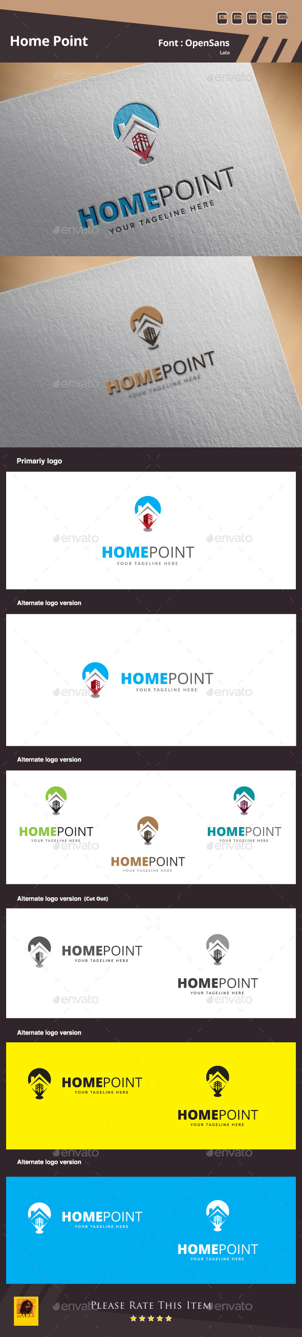 GraphicRiver Home Point Logo Template 10019198