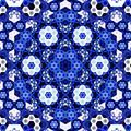 Abstract symmetrical blue hexagon fractal  mosaic - PhotoDune Item for Sale