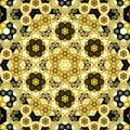 Abstract symmetrical yellow hexagon fractal  mosaic - PhotoDune Item for Sale