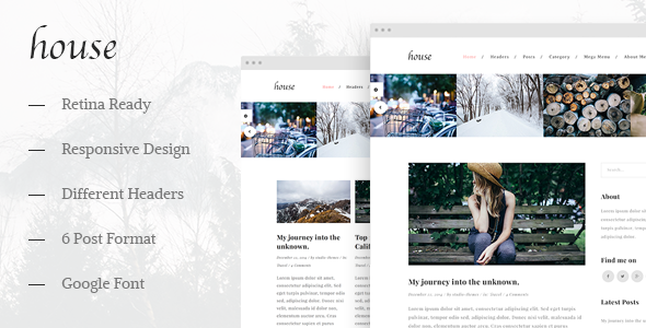 ThemeForest House Personal Creative Blog Template 10019229