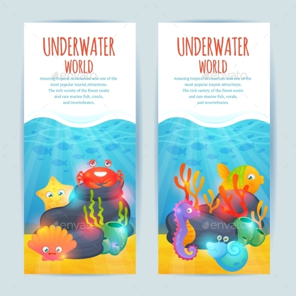 GraphicRiver Underwater Sea Animals Vertical Banners Set 10019255