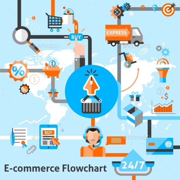GraphicRiver E-Commerce Flowchart Illustration 10019375