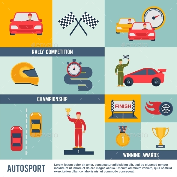 GraphicRiver Auto Sport Icon Flat 10019487