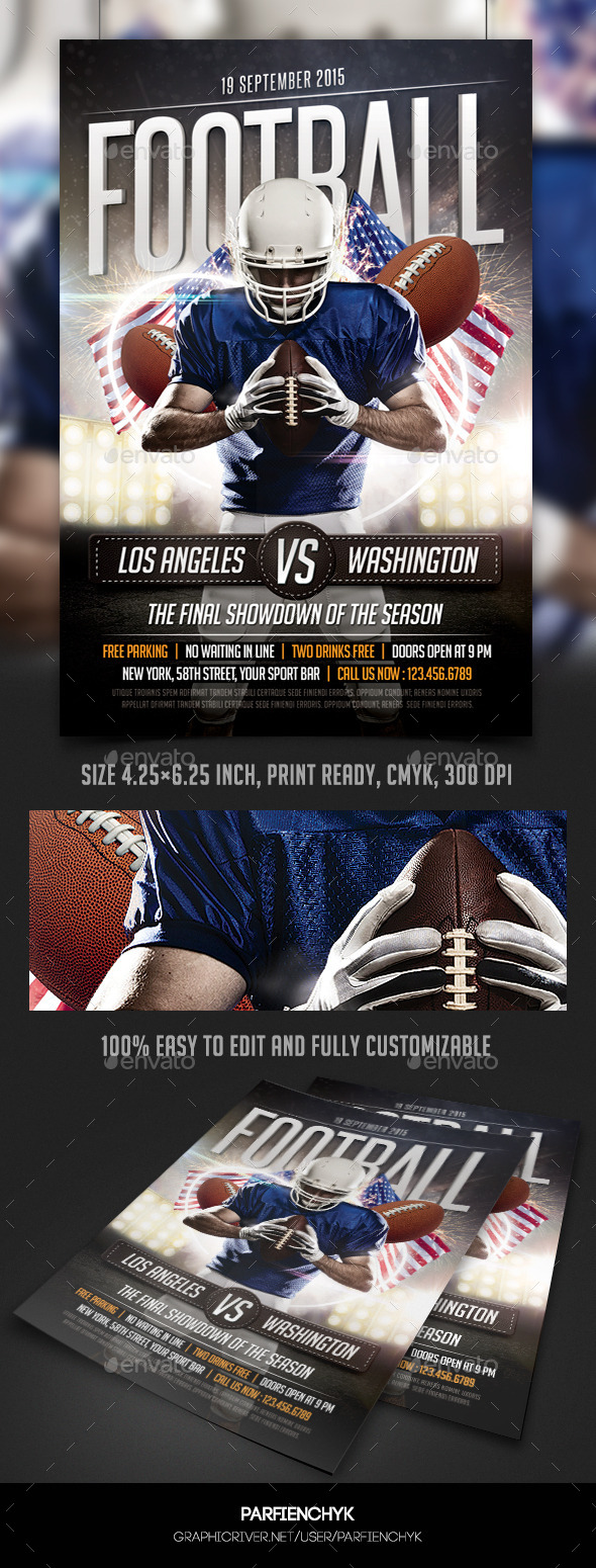 GraphicRiver Football Game Flyer Template 10019534