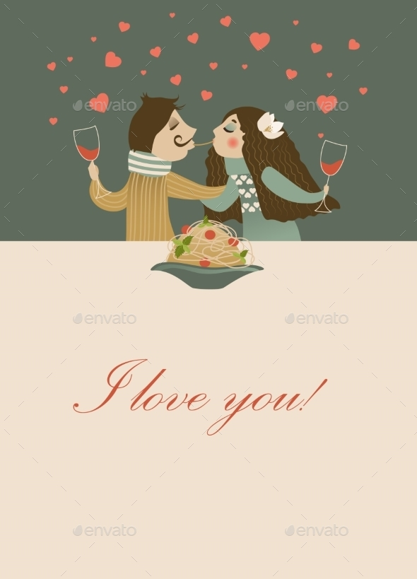 GraphicRiver Couple in Love Eating Spaghetti 10019857