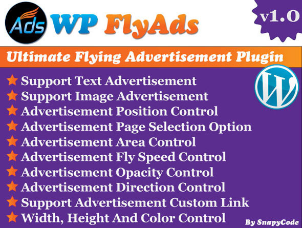 Ultimate flying advertisement plugin for Wordpress. This advertisement plugin has lots of option to create flying advertisement as you want. You can create imag