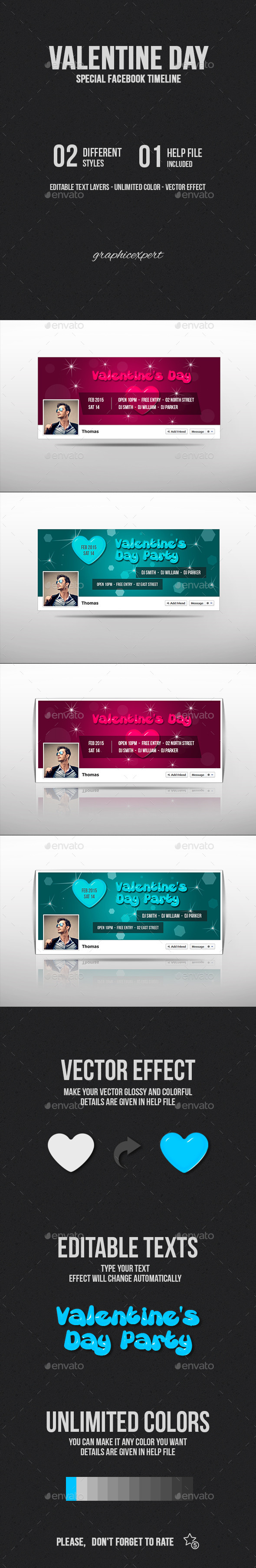 GraphicRiver Valentine Day Facebook Cover 10020013
