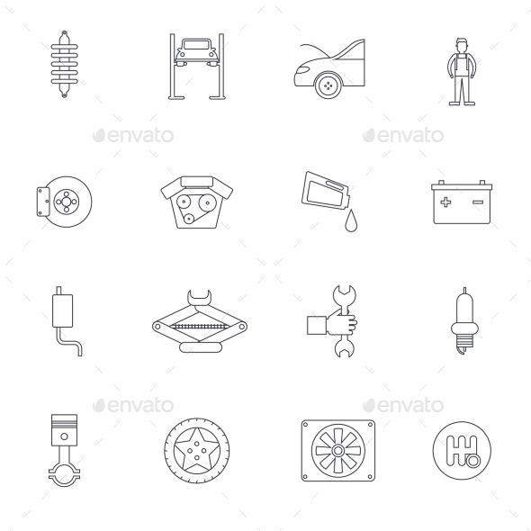 GraphicRiver Auto Service Outline Icon 10020177