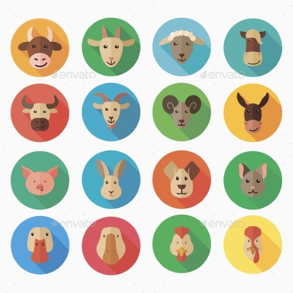 GraphicRiver Farm Animals Flat Icons with Long Shadow 10020281