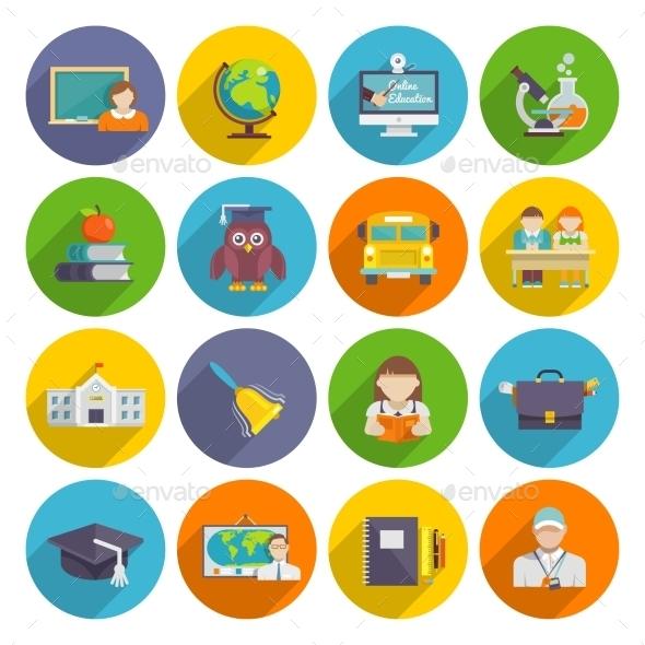 GraphicRiver School Icon Flat 10020360