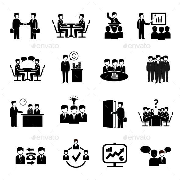GraphicRiver Meeting Icons Set 10020435
