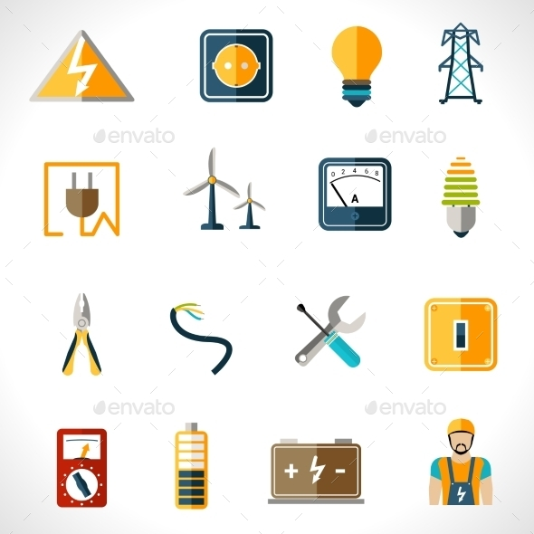 GraphicRiver Electricity Icons Set 10020446