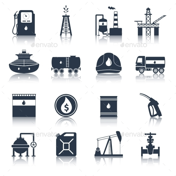GraphicRiver Oil Industry Icons Black 10020448